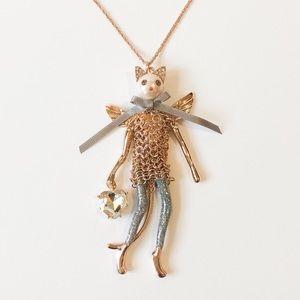 Betsey Johnson Sassy Angel Kitty Cat Necklace
